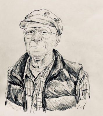 drawing of David Moritz by Vanessa Waring