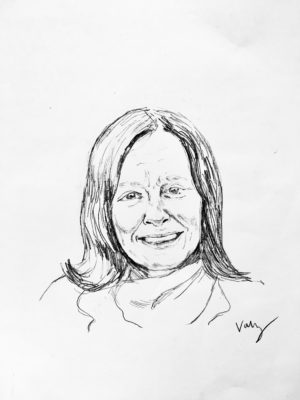 drawing of Jane Mickelson by Vanessa Waring