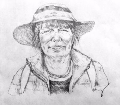 drawing of Linda Samuels by Vanessa Waring