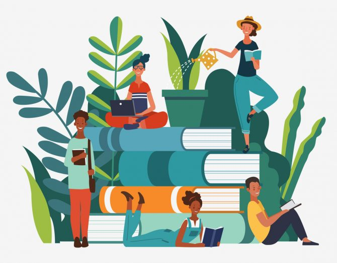 group of people reading books